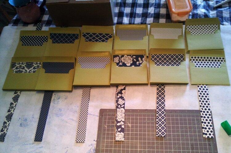 Wedding Lined RSVP Envelopes w/coordinating sash