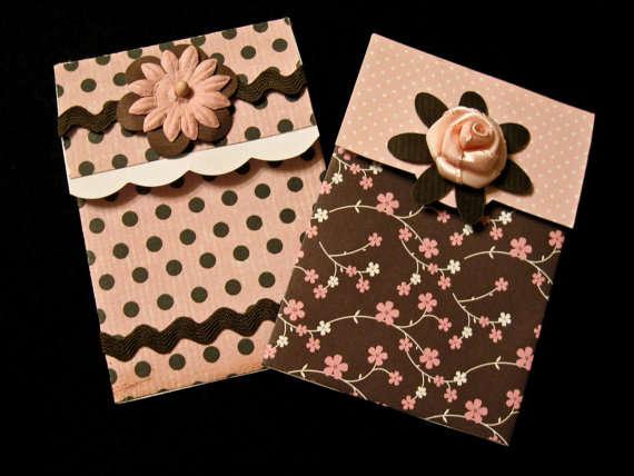 Pink & Brown Gift Card Holder