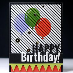 Happy Birthday Striped Balloons