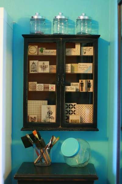 Stamp storage cabinet.