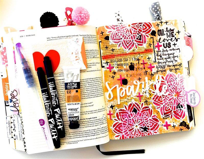 Bible Journaling Sparkle Layout