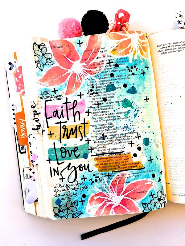 Faith, Trust, Love Bible Journaling Layout