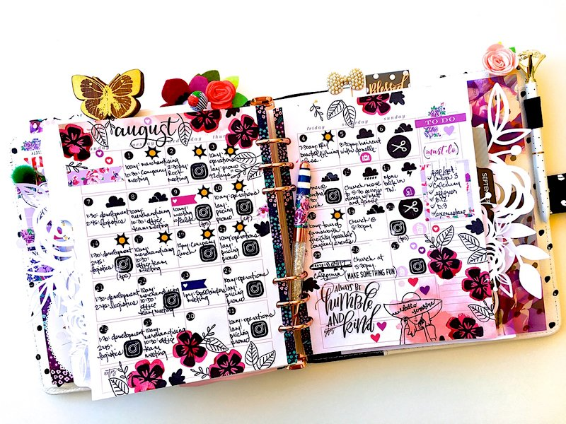 August Planner Monthly Layout