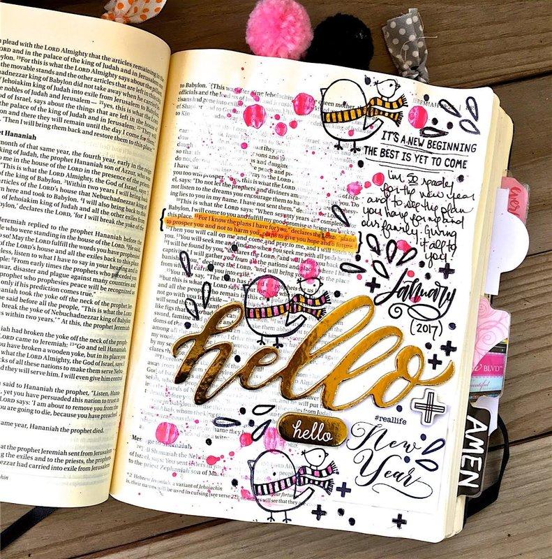 Hello New Year Bible Journaling Layout
