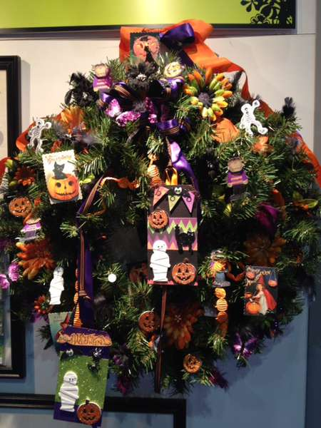 Altered Halloween Wreath featuring Brand New Petaloo Products