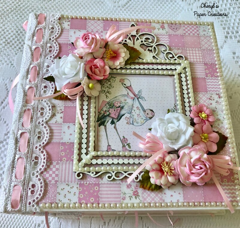 """Stamperia """"Baby Girl"""" Mini Album By Cheryl's Paper Creations"""