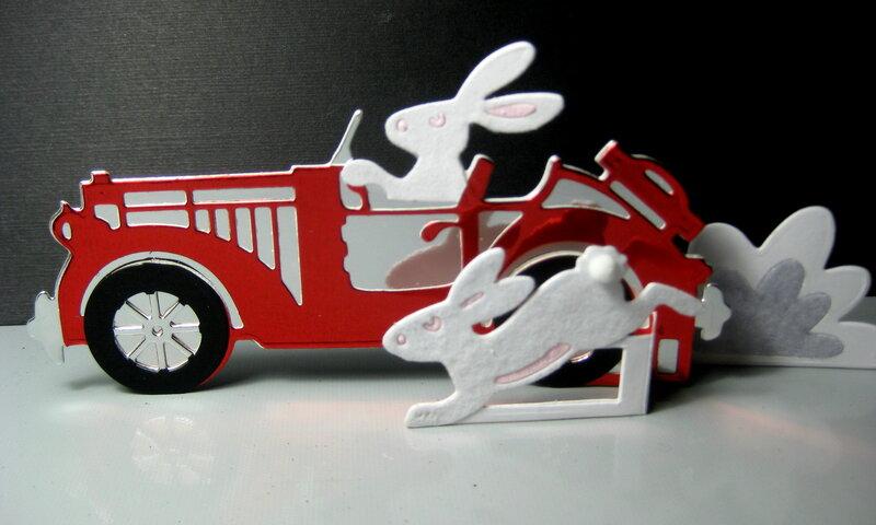Bunnies with Classic car