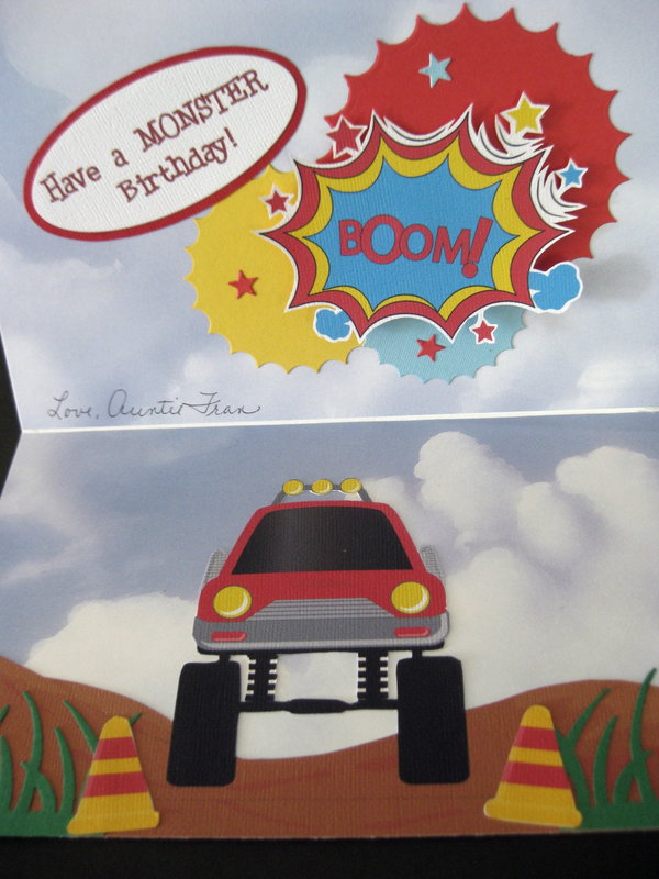 Monster Truck Penny Slider Birthday Card