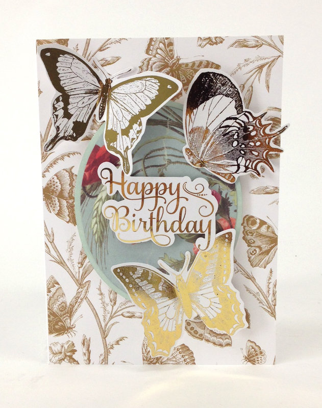 Minc Gold Vintage Butterfly Happy Birthday Card