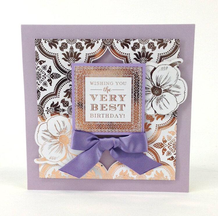 Lovely Lavender Gold Foil Sentiment Card