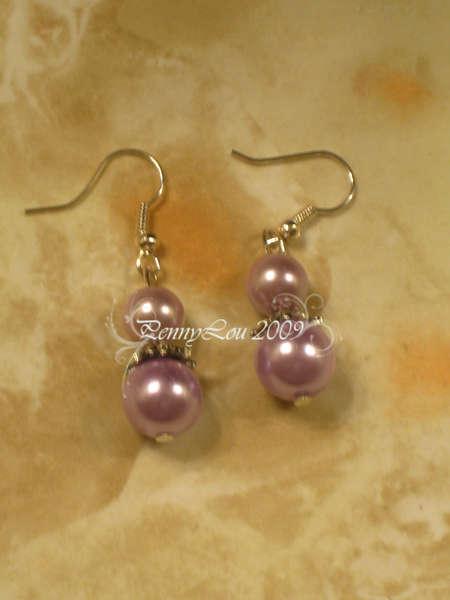 Purple Pearl Drop Earrings