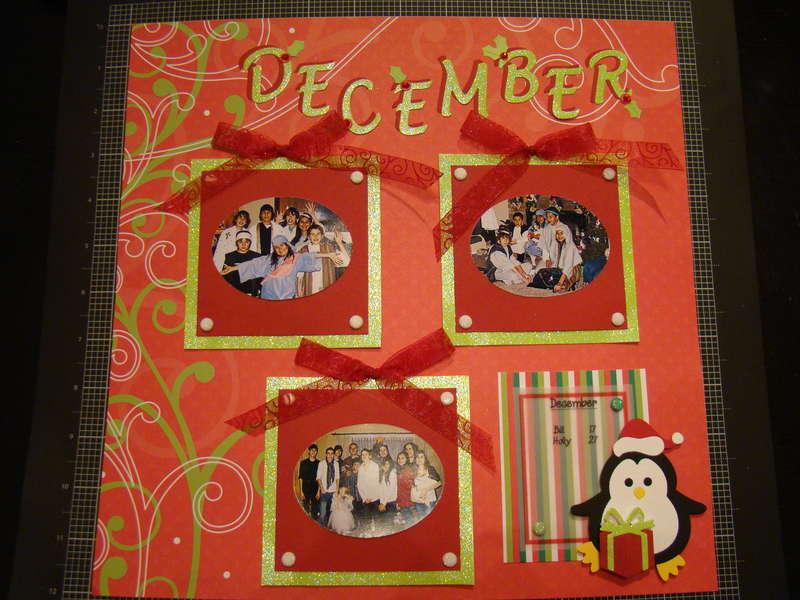 December Layout for Calendar Shadow Box