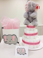 Elephant card, gift bag, and diaper cake