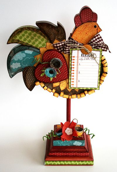 Altered Finally Fall Rooster by Marie-Josee Hamel