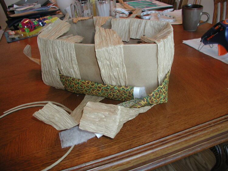 Side of basket, weave...  1st & 2nd row fabric, 3rd paper twist