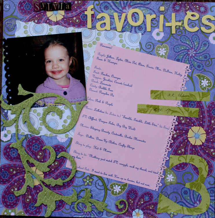 Sylvia's Favorites at age 3
