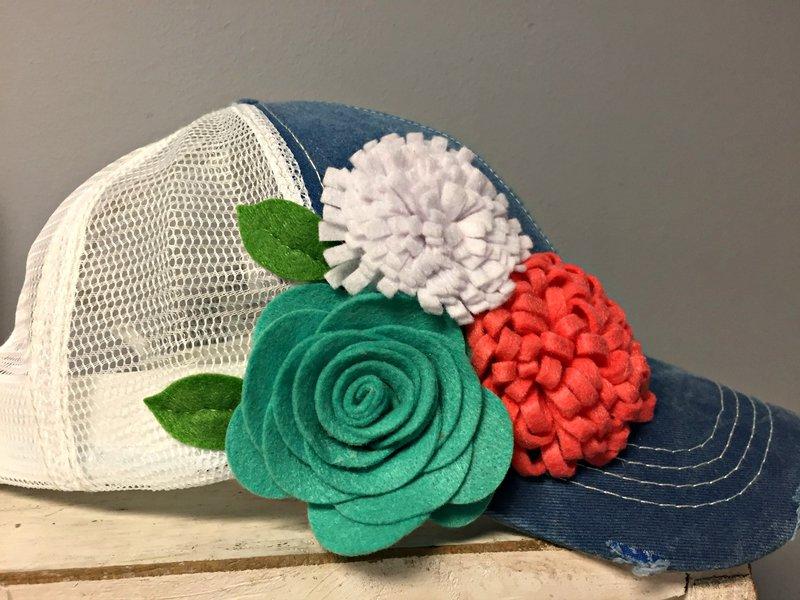 Felt Flower Trucker Hat