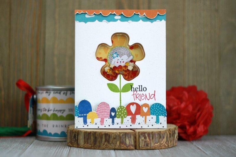 *Jillibean Soup* Hello Friend Hedgehog Shaker Card