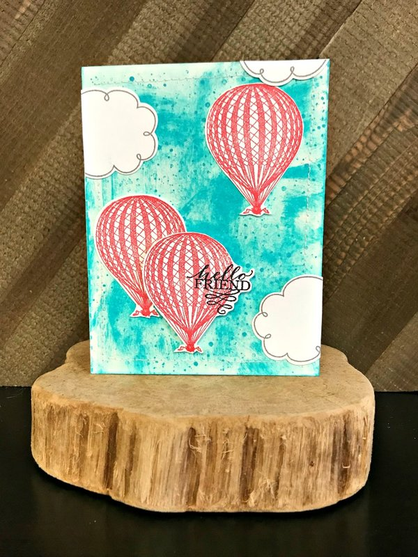 Hello Friend Hot Air balloon Card