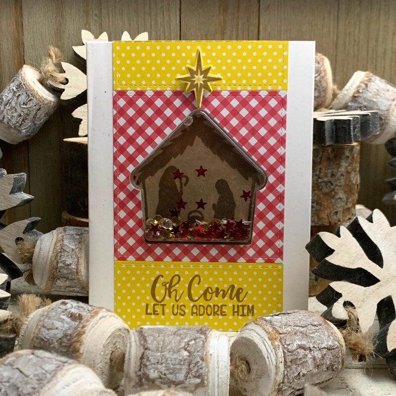 *Jillibean Soup* Oh Come Let Us Adore Him Christmas Shaker Card