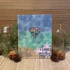 *Hampton Art* I Love Winter Shaker Card