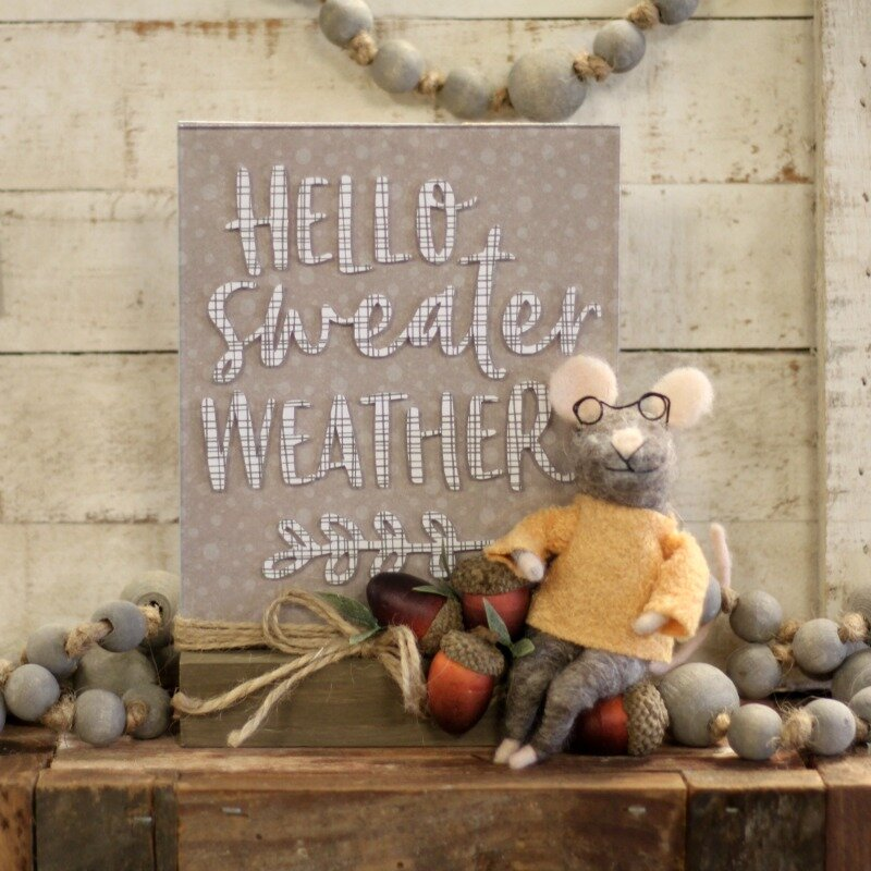 *Jillibean Soup* Hello Sweater Weather Mouse Acrylic Stand