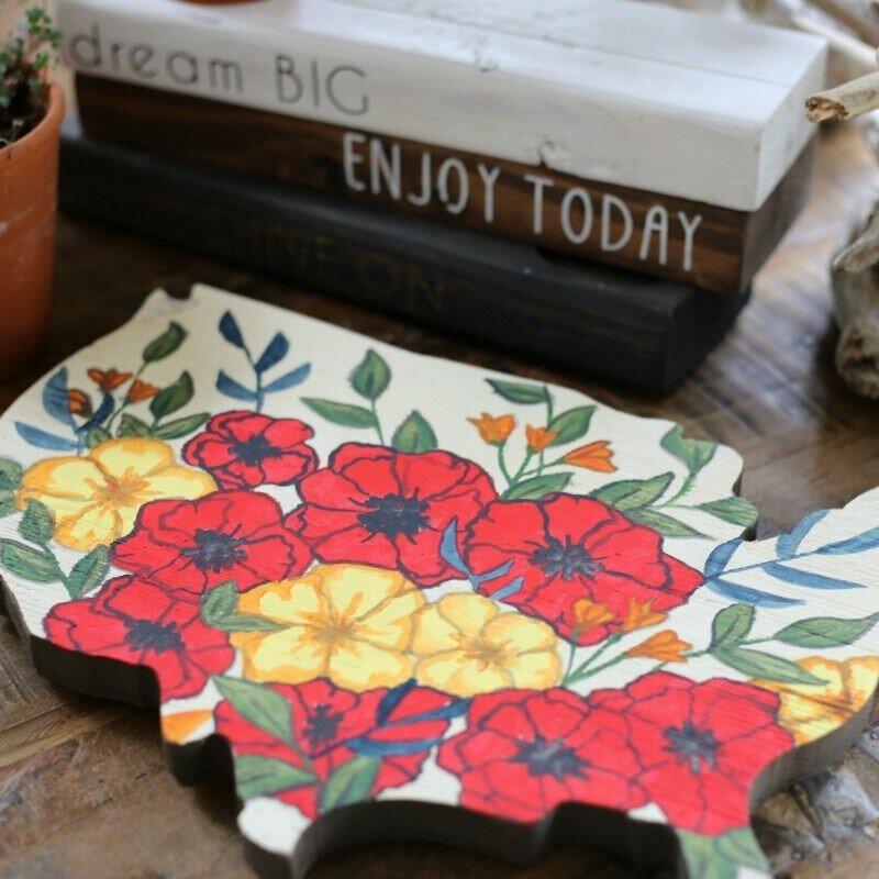 *Jillibean Soup* USA Floral Wood Plank side