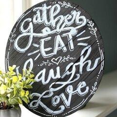 *Jillibean Soup* Oval Chalkboard Wood Plank