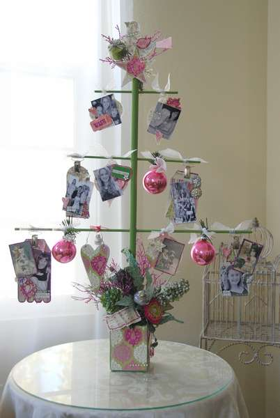 Pink Paislee & Clear Scraps Christmas Tree