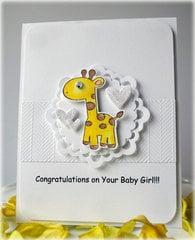 Giraffe Baby Girl Card