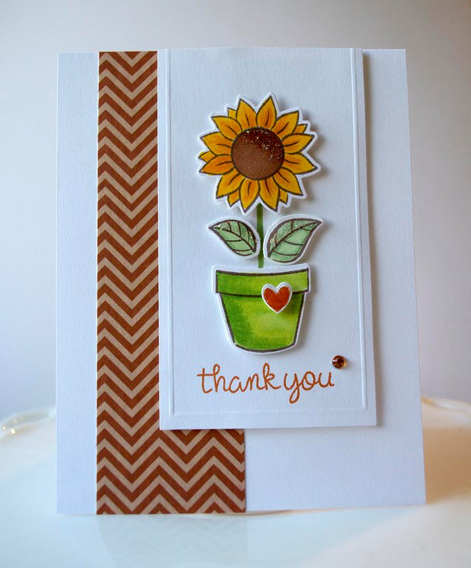 "Lawn Fawn ""Friendship Grows"" Stamps and Die Cutting Template Thank You Card"