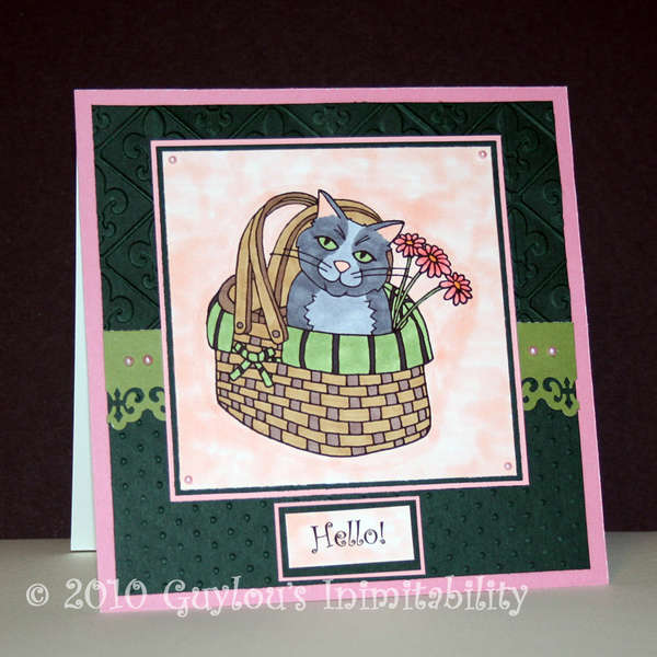 Cat in a Basket - Hello Card