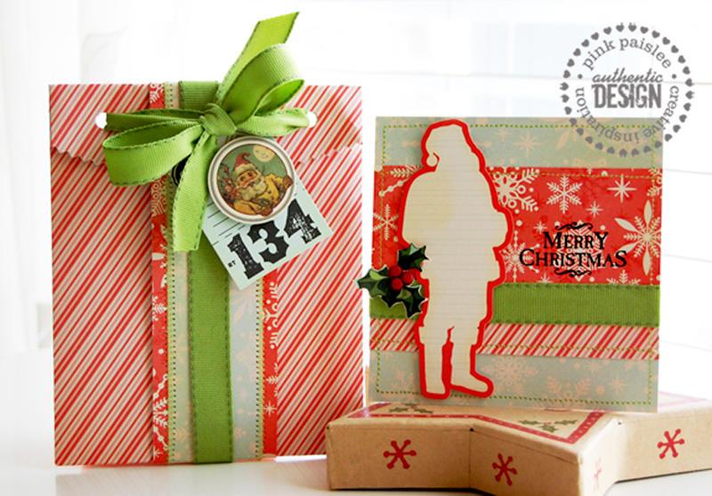 Merry Christmas card & envelope  **Pink Paislee**
