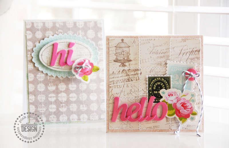 Hello card set  **Pink Paislee**