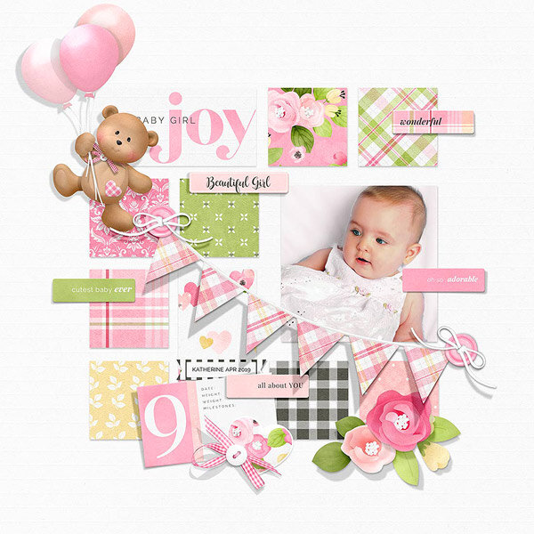Baby Girl Digital Scrapbook Layout Idea