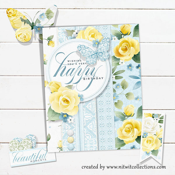 Classic Happy Birthday Card with Yellow Roses