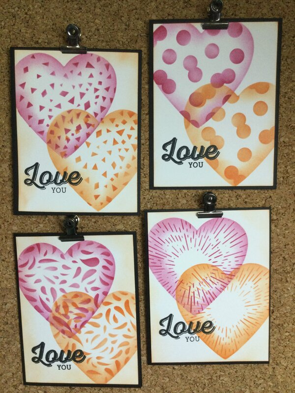 Double stenciled Valentines