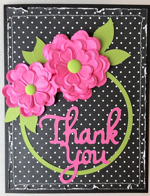 Black and Pink Thank You card