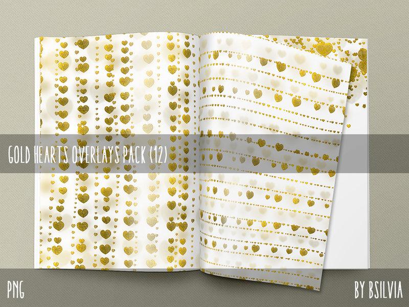 Digital Gold Hearts Overlays Pack