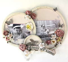 Dress Up Time altered embroidery hoop decor. ***Swirlydoos May Kit