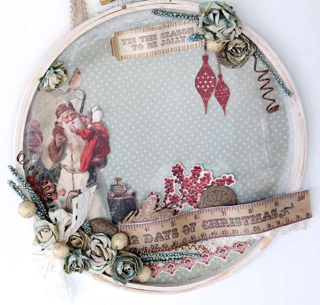 Altered Christmas Embroidery Hoop wall Decoration