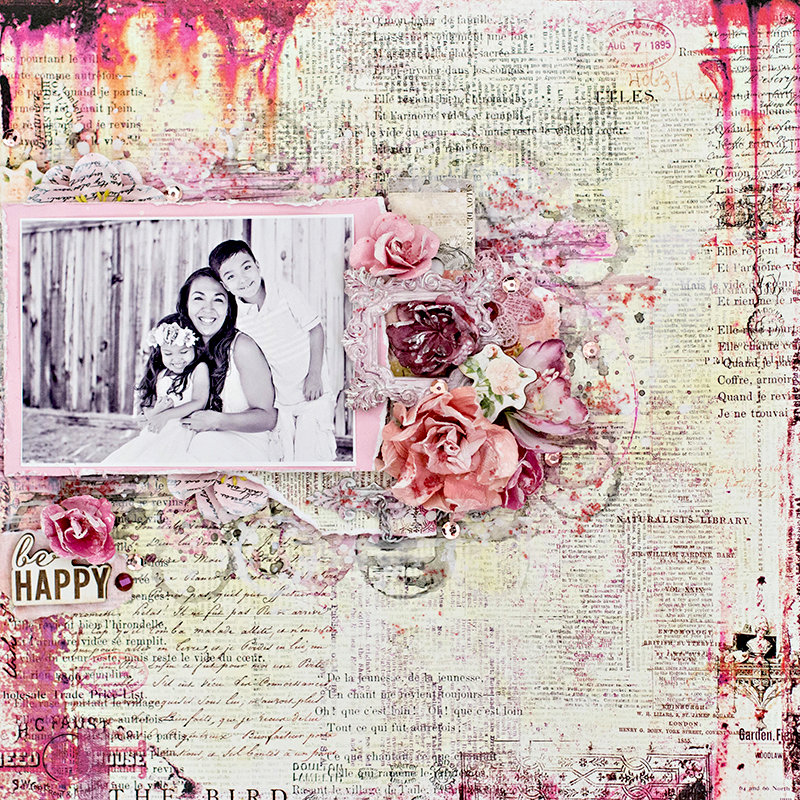 Be Happy layout. Prima October BAP challenge.