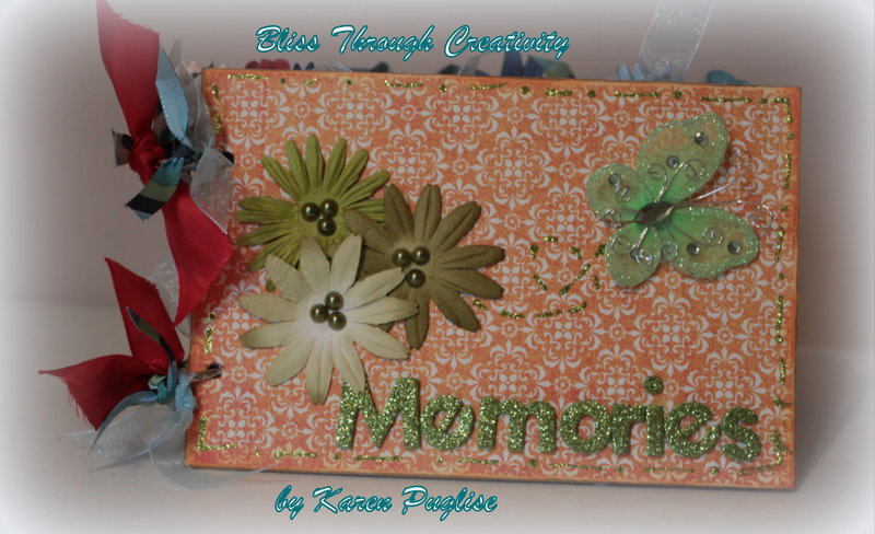Memories - chipboard mini album 5x7 1/2 - Front Cover