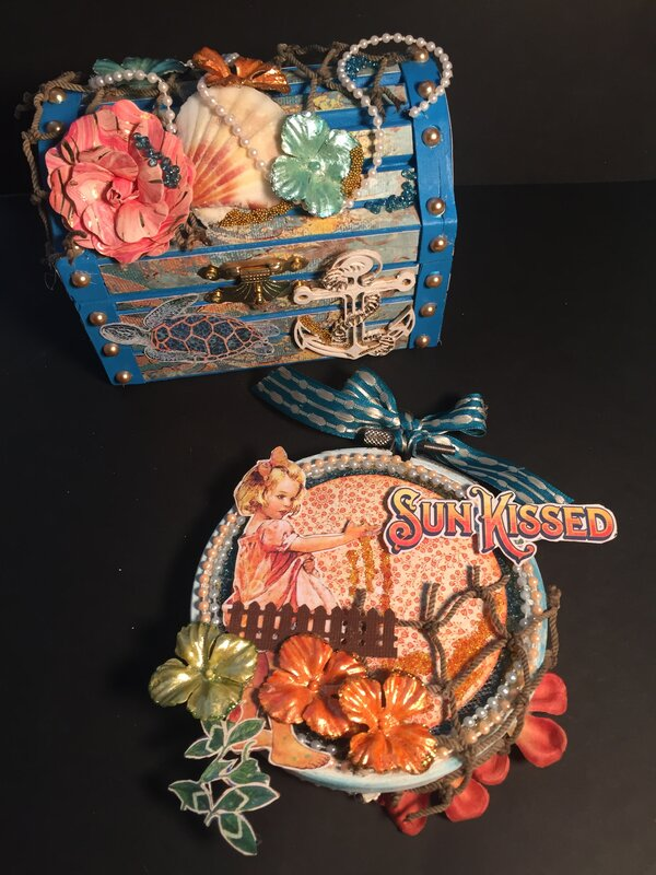 Treasure chest and embroidery hoop