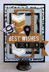 Best Wishes Card - Scrap Yard - Kaisercraft