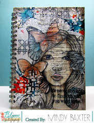 Bloom Girl Altered Notebook Mixed Media