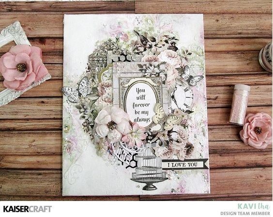Mixed Media Canvas with Romantique