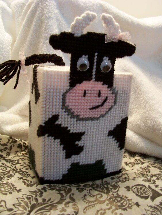 Plastic Canvas Cow  tissue box holder my mom made