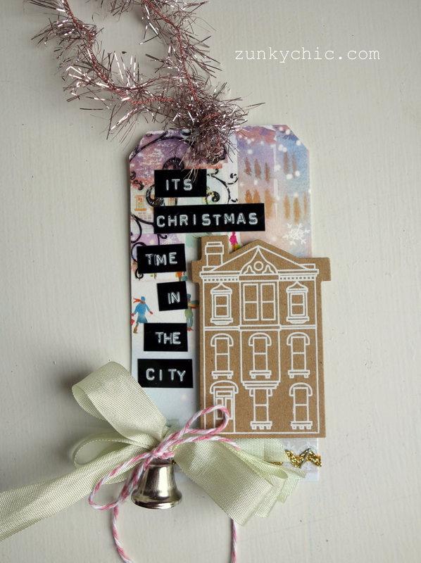 Silver Bells Christmas tag