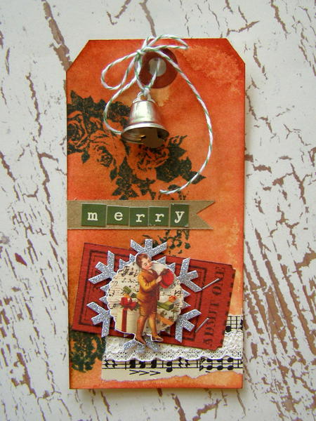 Merry grungy Christmas tag